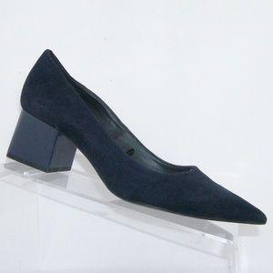 Zara TRF blue suede pointed toe block heels 7.5 38